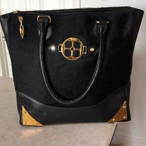 Vintage Black Leather Pony Iman Handbag Purse Tote